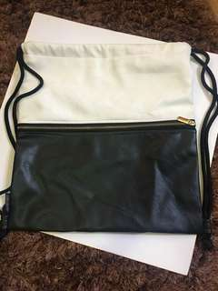 Faux Leather Black and White Drawstring