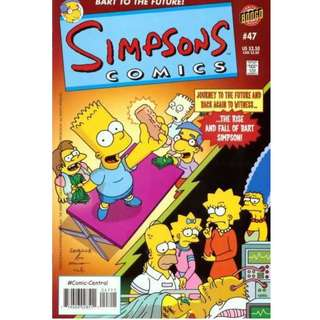 "Simpsons Comics #47 (February 2000) - Back to the Future! The Rise and Fall of Bartholomew J. Simpson - ""Thirty years in the future Bart Simpson is going to die..."