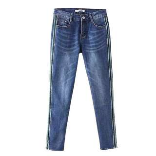 🚚 Europe and the United States new side of the ribbon stripe jeans stretch Slim pencil pants