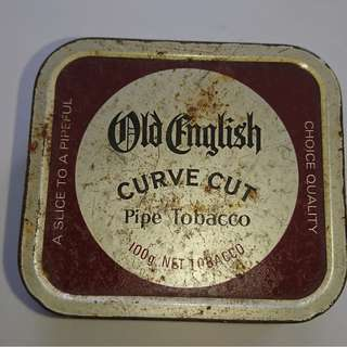 Vintage English Curve Cut Pipe Tobacco metal container