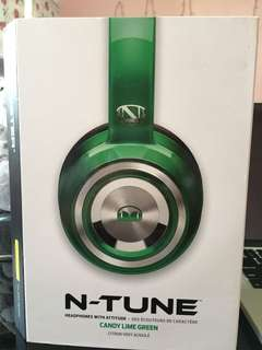 Monster N-Tune Candy Lime Green Headphones