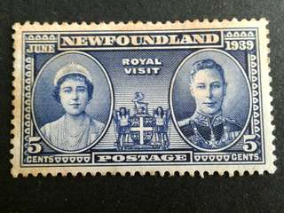 1939 Newfoundland 5c stamps(Stain)