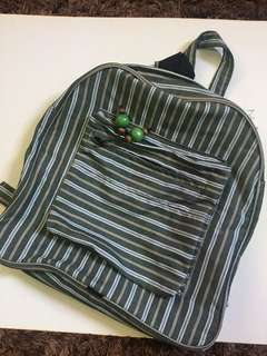 Stripey Green Backpack