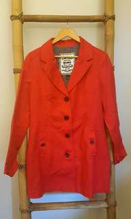 Red Buttondown Trench Coat