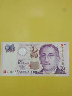 Sg $2 Y2k fancy number
