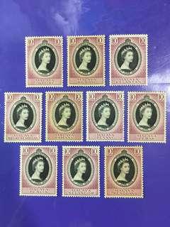 10 pcs Malaya States 2nd June 1953 Coronation Queen Elizabeth II Mint Stamps