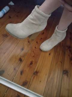 Beige Chunky Ankle Boots