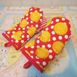 日本作家手作布handmade波點餅乾隔熱焗爐手套一對