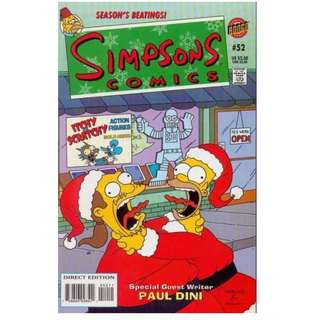 Simpsons Comics #52 (November 2000) - Worst Christmas Ever! Every kid in Springfield wants one of the hottest toys to hit the marketplace in years this Christmas: the new Itchy & Scratchy Interactive Playsets. However, one man stands in their way.