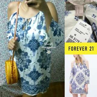 Forever 21	Blue White Paisley Cold Shoulder Dress