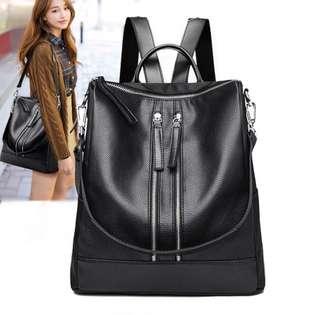 [po] black leather backpack/ handbag/ sling bag