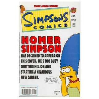 Simpsons Comics #53 (December 2000) - The Beer Boys: When Moe's gall bladder goes on the fritz, Homer, Carl, Lenny, and Barney are forced to face the prospect of life without beer - unless Moe's Bar's best barflies...