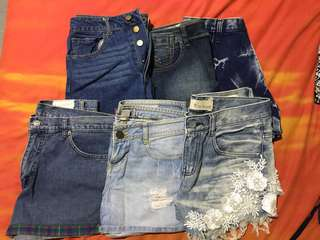 Denim Shorts 3 for 500, two for 350