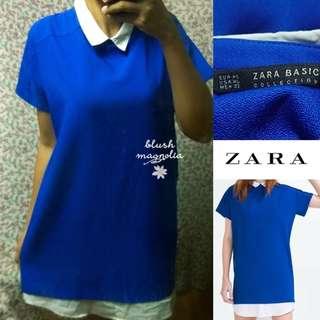 ZaraBlue Preppy Shift Dresswith Layered Hem