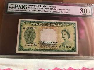 5 Dollar Malaya Queen PMG 30 NET