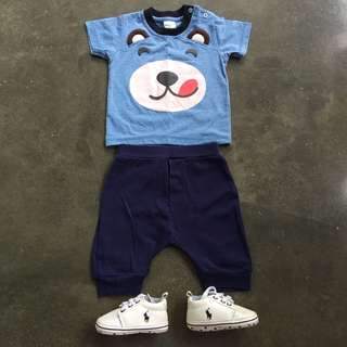 🆓Postage!! Ralph Lauren Pre-walker & Baby Bear Shirt + Pants Set