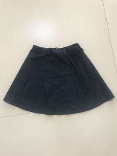Dark blue denim skater skirt