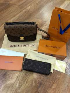 Combo Louis Vuitton Pochette Metis and Clemence Wallet