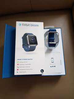 Fitbit Blaze Original Classic Stainless Steel Frame Blue Band (Large)