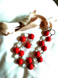 Handmade Adjustable Red / white glass beads necklace