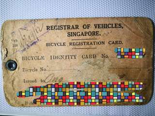 Vehicle registar-bicycle registration card