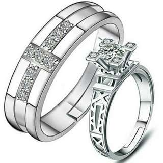 925 couple ring adjustable