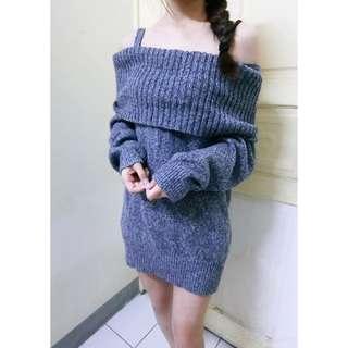 🚚 一字領針織毛衣 #清衣櫃隨便賣#全新 僅試穿過