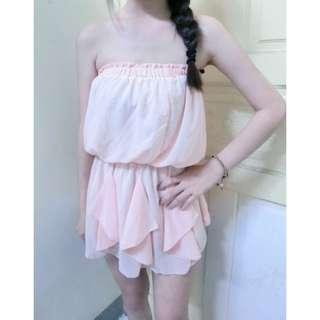 🚚 雪紡平口洋裝#清衣櫃隨便賣 #全新 僅試穿過