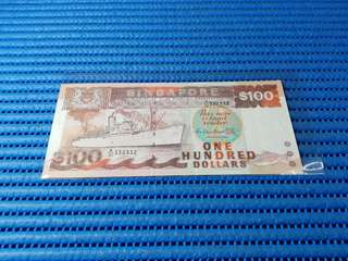 332332 Singapore Ship Series $100 Note A/31 332332 Repeater Nice Number Dollar Banknote Currency
