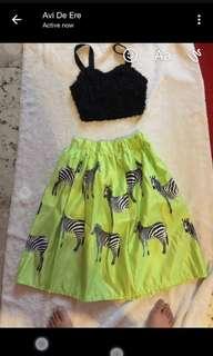 Zebra neon green skirt