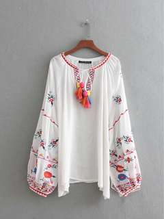 European Women's Lace Hairball Embroidered Blouse Top