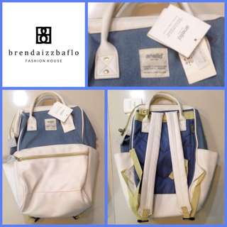 Anello Back Pack Denim with Leather White