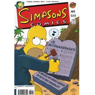 Simpsons Comics #62 (September 2001) -  Since the Sunday school teacher called in sick, Bart offers to tell Rod and Todd his version of the Bible stories...