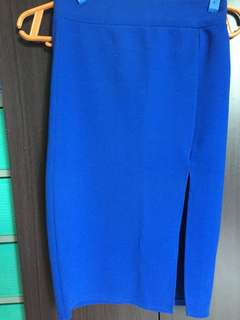 Blue pencil skirt with slit