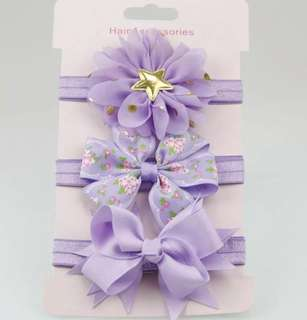 *In Stock* BN 3pcs Flower Floral Bow Knot Hairband Headband for Baby Girls / Toddlers (Lavender)