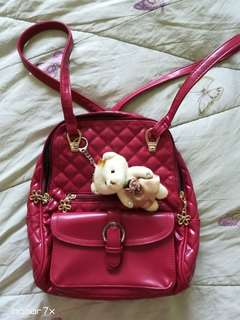 Korean Backpack With Bear (Red)