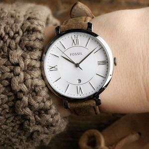 PROMO SALE - Fossil Fossil Jacqueline Brown Stainless-Steel Case Leather Strap Ladies ES3708