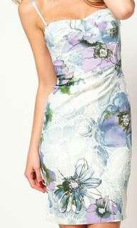 Arctic Floral Printed Slim Dress-Purple Blue