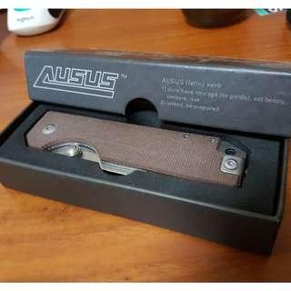 BN StatGear Ausus - D2 tool steel, liner lock, brown micarta scales.