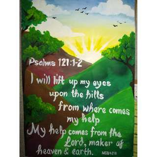 "Poster Painting on Paper ""Psalms 121:1-2"" by MRGQ, April 2018, 24x12""  No Frame"