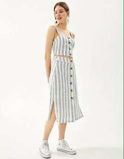Bershka Long skirt stripped summer