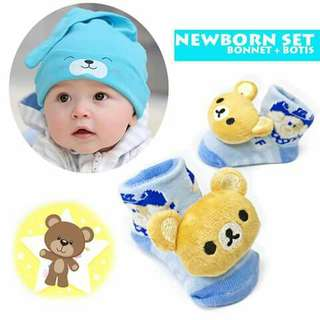 Baby Beanie and Booties Set - BLUE