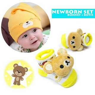 Baby Beanie and Booties Set - YELLOW