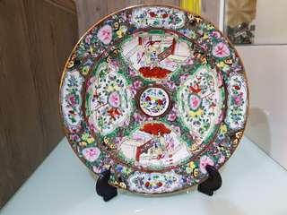 Old hand drawn porcelain plate.