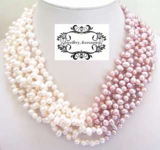 Multistrand Genuine Lustrous White Purple Pink Baroque Pearls 925 silver clasp Necklace