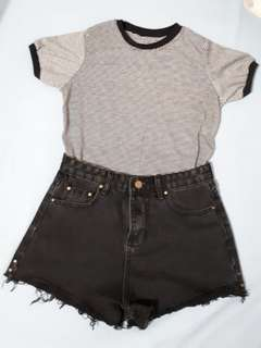Bundle AA insp tops + HW black denim shorts