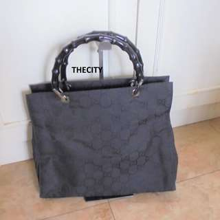 AUTHENTIC GUCCI LARGE BAMBOO HANDLE TOTE BAG - GG LOGO DESIGN CANVAS - GOOD CONDITION