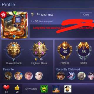Mobile legend acc for sell rm650