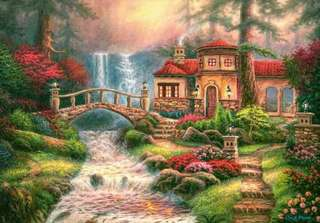 Cottage and falls rhinestone art