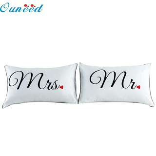 My House Set of 2 Couples Pillow Cases Letters Printed Pillowcases Bedding  Wedding Anniversary Romantic